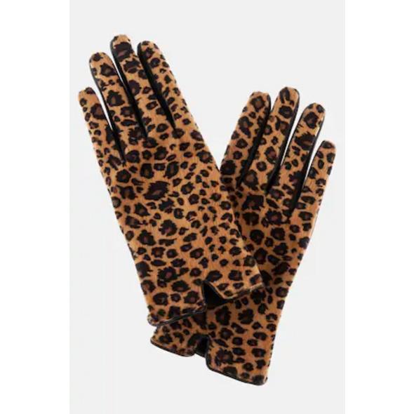 Handschuhe, Leomuster, Lederoptik