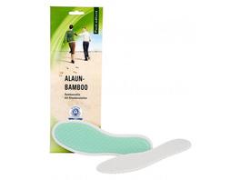 Einlegesohle mit Bambusfaser-Lauffläche und Alaunkristallen. Mit antibakterieller Wirkung gegen Fusgeruch. 100 % Natur