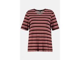 Ulla Popken Shirt, geringelt, Halbarm - Große Größen