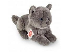 Teddy Hermann 91831 - Kartäuser Katze liegend, Katzen, Plüschtier, Stofftier, 20 cm